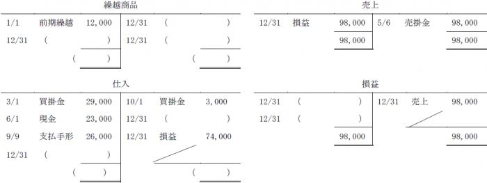 簿記3級予想模試(T字勘定)