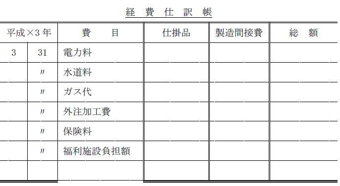 経費仕訳帳(簿記2級)